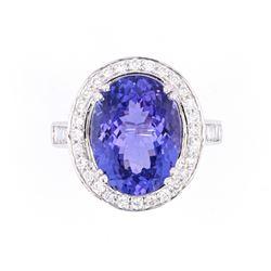 AAA+ Tanzanite & VS1 Diamond Platinum Ring