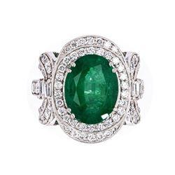 Amazing 4.34 cts. Emerald  & Diamond Ring