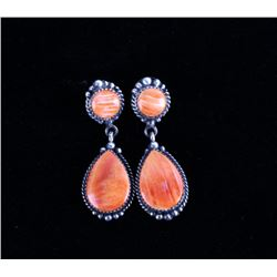 Navajo Spiny Oyster Sterling Silver Earrings
