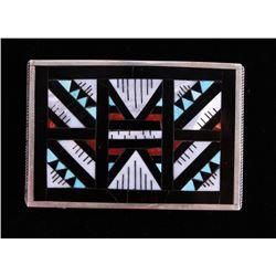 Zuni Mosaic Inlaid Onyx & Coral Sterling Buckle