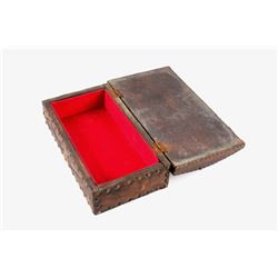 19th Century Leather & Tacked Wood Box marked USIS