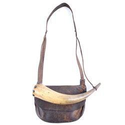American Frontiersman Powder Horn & Pouch 1800's