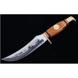 Solingen Germany Bear Etched Hunting Buck Knife