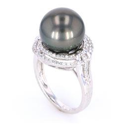 Scarce Black Tahitian Pearl Diamond 14K Ring