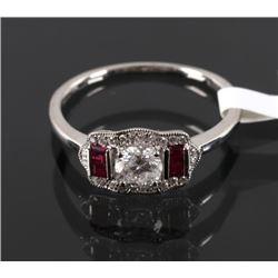 1930's Style Diamond & Ruby Platinum Ring