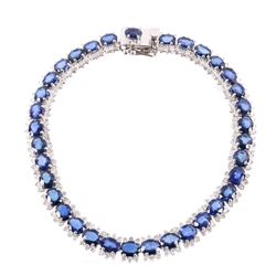17.72 cts. Blue Sapphire & Diamond 14K Bracelet