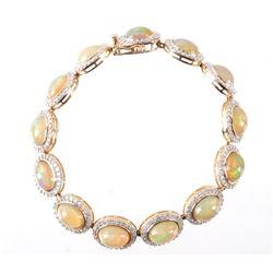 c. 1980's Orianne Opal & Diamond 14K Gold Bracelet