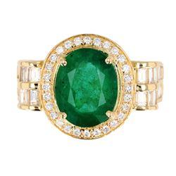1950's Mid-Century Emerald & Diamond 14K Ring