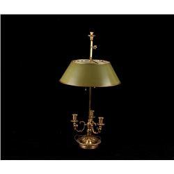Kessler Brass Bouilotte Lamp W/ Tolle Peinte Shade