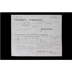 Dillon Montana John Doe Warrant of Arrest 1918