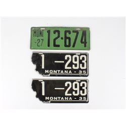 Montana 1927 & 1935 Steel License Plate Collection