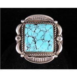 Navajo Sterling Silver Signed No. 8 Turquoise Ring