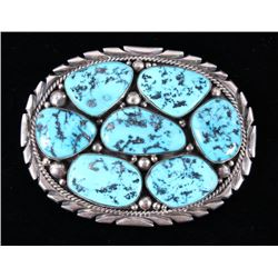 Navajo Kingman Turquoise Buckle by M. Spencer