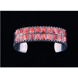 Navajo Red Spiny Oyster Shell Sterling Bracelet
