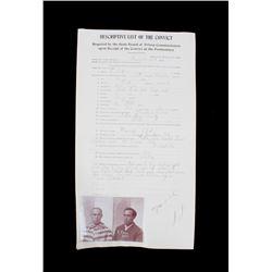 Deer Lodge Montana Prison Intake Document, 1911