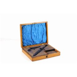 19th C. Quarter Sawn Oak Gambler Pistol Knife Case