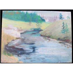 Original '65 Carl Tolpo Madison River Oil Painting