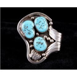 Navajo Signed Sterling & Turquoise Large Ring