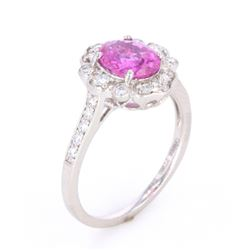 Purplish Pink Sapphire & VS1 Diamond PT950 Ring