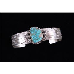 Navajo Kingman Turquoise & Sterling Silver Cuff