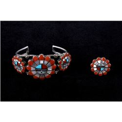 Zuni Intricate Inlaid Sunface Silver Cuff & Ring