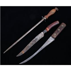 Frontier Skinning Knives & Sharpening Steel c 1800