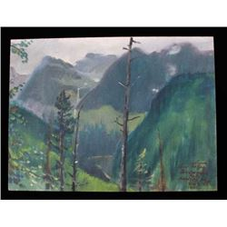 Carl Tolpo Bird Woman Falls Oil Painting, Glacier