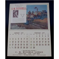1977 Charlie Russell Calendar  From Big Timber MT