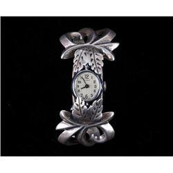 Navajo F Jones Sand Cast Sterling Silver Watchband