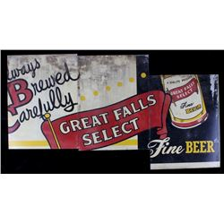 Montana Great Falls Select Fine Beer Sign c. 1940s
