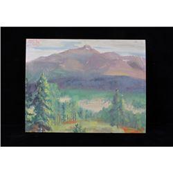 Original Carl Tolpo Long's Peak Oil Painting c1965