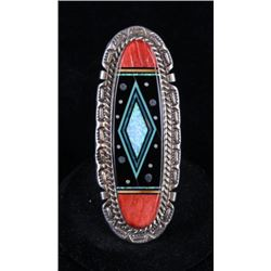 Navajo Signed Sterling Inlayed Ring Of Night Sky