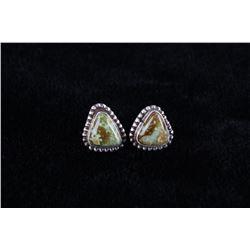 Navajo Kingman Turquoise Sterling Silver Earrings