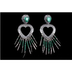 Navajo Q T Quoc Sterling Silver Malachite Earring