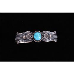 Navajo EL Billah Kingman Turquoise Silver Bracelet