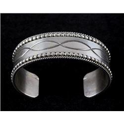 Navajo Ron Y. Sterling Silver Engraved Bracelet