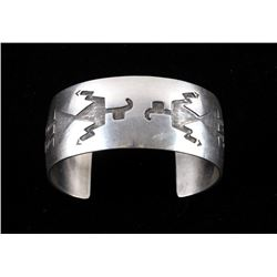 Navajo M. Thomas Sterling Silver Engraved Bracelet