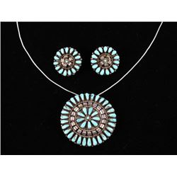 Navajo Turquoise Petite Point Necklace & Earrings