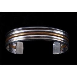 Navajo Sterling Silver Cuff & Gold Plated Cuff