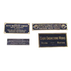 Antique Brass Name Plates From Montana Companies