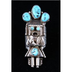 Navajo Sterling & Turquoise Signed Kachina Ring