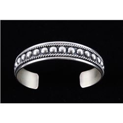 Navajo Sterling Silver Inlaid Border Bracelet