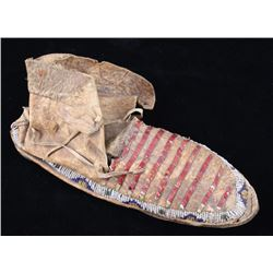 Sioux Quilled & Beaded Moccasin c. 1870's