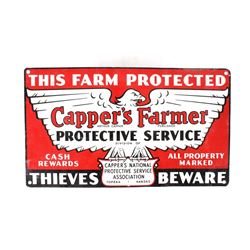 1940s Capper's Farmer Security Tin Lithograph Sign