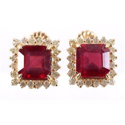 Natural 10.72 cts. Ruby & Diamond Stud Earrings
