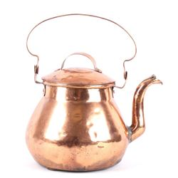 1800's Large Goose Neck Dovetail Copper Kettle