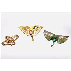 1890's Victorian Seed Pearl Bat & Flower Brooches