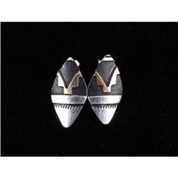 Navajo T&R Singer Gold Overlay Sterling Earrings