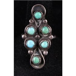 1920'S Navajo Old Pawn Silver & Turquoise Ring