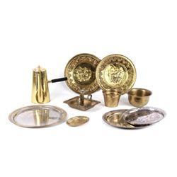 Valmazan Brass Candlestick, Kettle, Bowls, & Trays